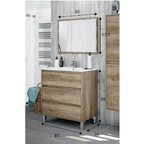 Kit mobile bagno dakota 3c cm.80x45x86h rovere con specchio - Capaldo
