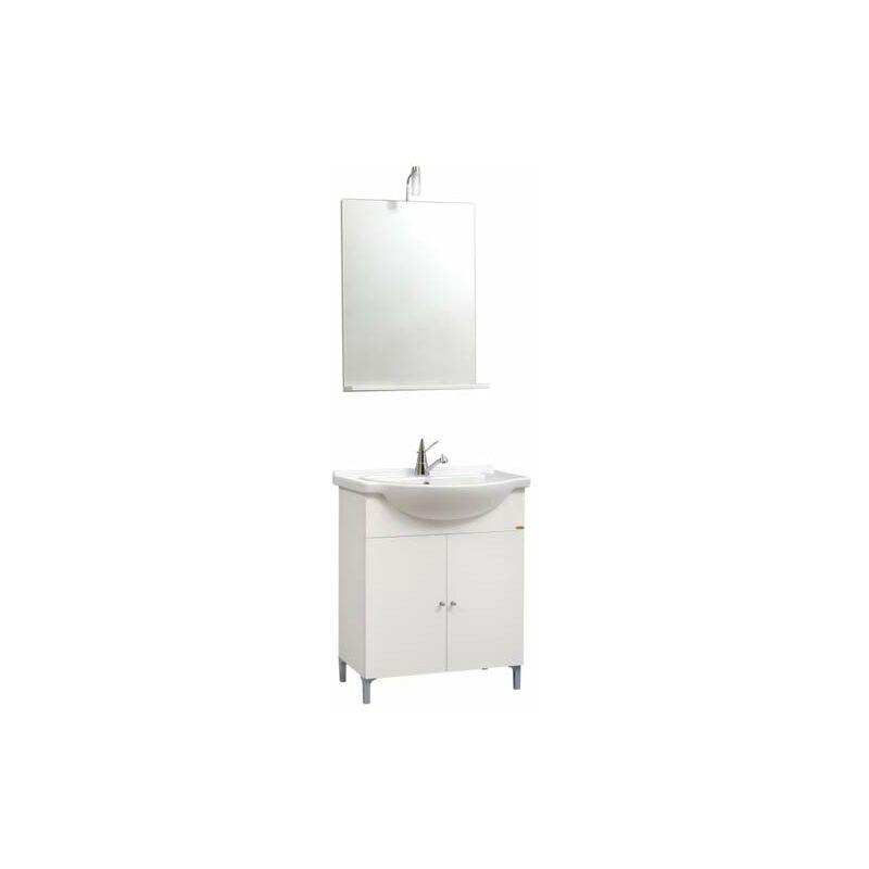 Kit Mobile bagno moderno Desy. Mobili in legno laccato bianco completo di specchio con illuminazione alogena e lavabo. - PIDEMA