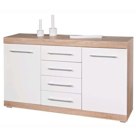 Kit Mobile Madia Buffet Lublin 4C+2A Rovere/Bianco Laccato