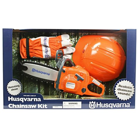 Kit Motosierra de juguete + guantes y casco Husqvarna