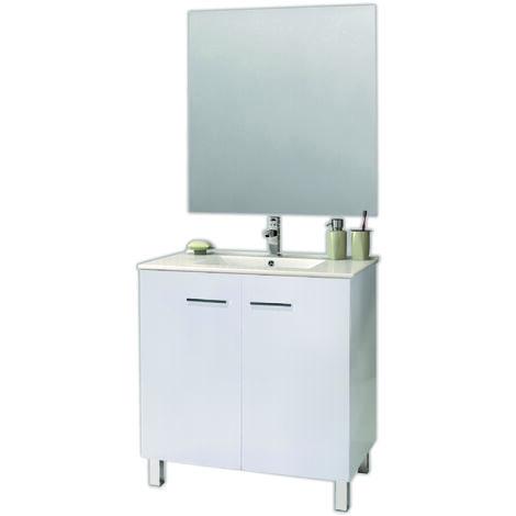 KIT Mueble COMPACTO de Baño ESPACE, Formado por Mueble de Baño Dos Puertas , Lavabo y Espejo.