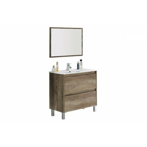 Kit Mueble de baño blanco 80 cm 2c + espejo + lavamanos de CERÁMICA IberoDepot