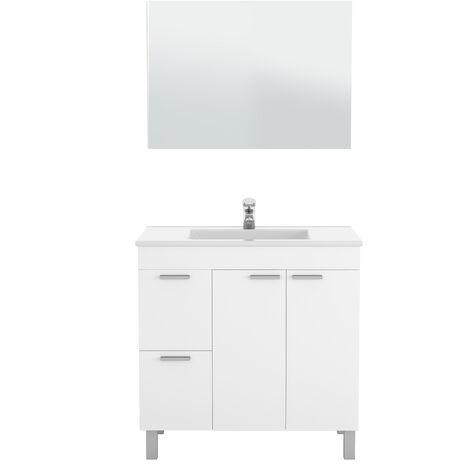 Kit Mueble de baño Blanco Brillo. + espejo + lavamanos CERÁMICA BLANCA 2 pueras + 2 cajones