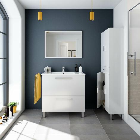 Kit Mueble de baño Blanco + espejo + lavamanos de CERÁMICA