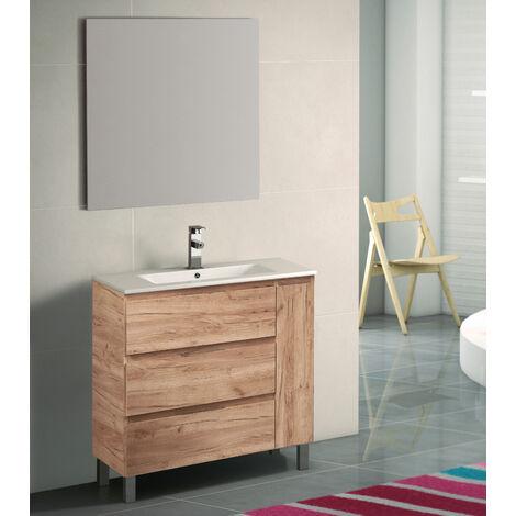 KIT Mueble de Baño ESTONIA PORCELANA, Formado por Mueble de Baño Lavabo de Porcelana y Espejo a Juego