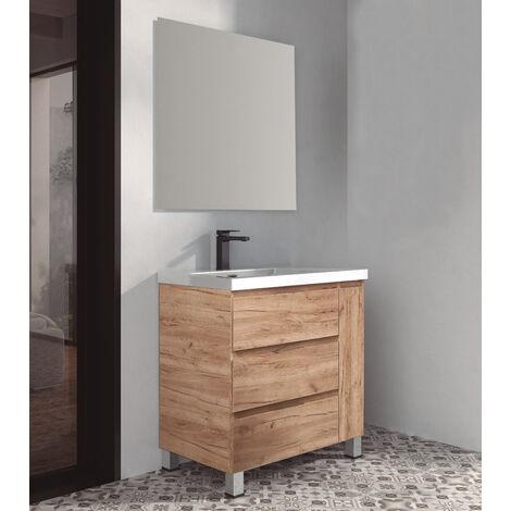 KIT Mueble de Baño ESTONIA RESINA, Formado por Mueble de Baño, Lavabo de RESINA y Espejo a Juego