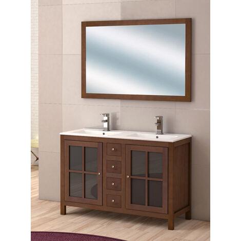KIT Mueble de Baño GRAZALEMA,  Mueble de Baño Estilo RústicO, Lavabo de Porcelana y Espejo