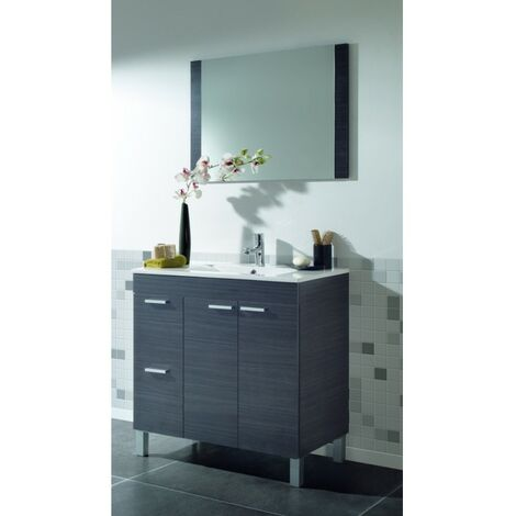 Kit Mueble de baño Gris Cen. + espejo + lavamanos CERÁMICA 2p+2c