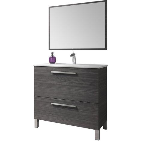 Kit Mueble de baño Gris Cen. + espejo + lavamanos de CERÁMICA