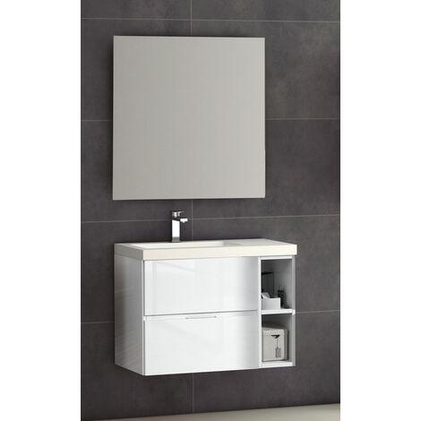 KIT Mueble de Baño JARAMA PORCELANA, Formado por Mueble de Baño Estilo Madera, Lavabo de Porcelana y Espejo