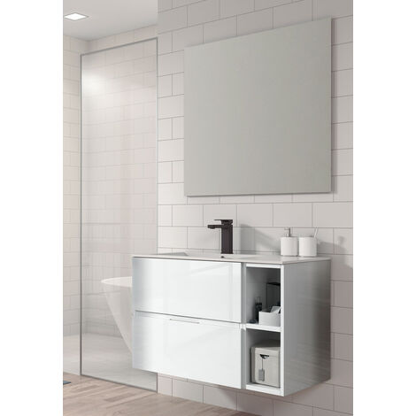 KIT Mueble de Baño JARAMA RESINA, Formado por Mueble de Baño Estilo Madera Color , Lavabo de Resina y Espejo
