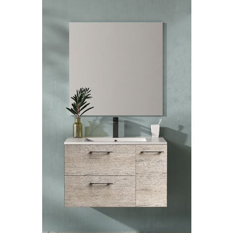 KIT Mueble de Baño MIÑO PORCELANA, Formado por Mueble de Baño , Lavabo de Porcelana y Espejo a Juego