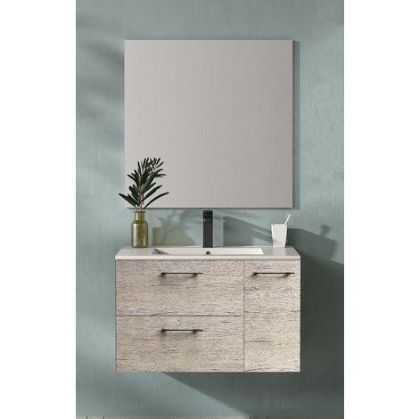 KIT Mueble de Baño MIÑO RESINA, Formado por Mueble de Baño, Lavabo de RESINA y Espejo a Juego