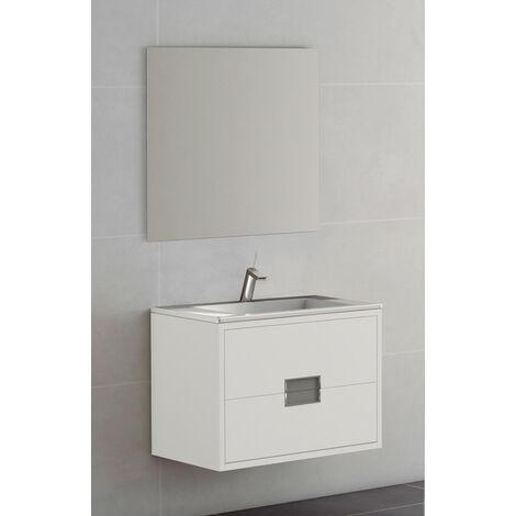 KIT Mueble de Baño Modelo BURDEOS PORCELANA,Formado por Mueble de Baño Ancho 80cm, Lavabo de Porcelana y Espejo