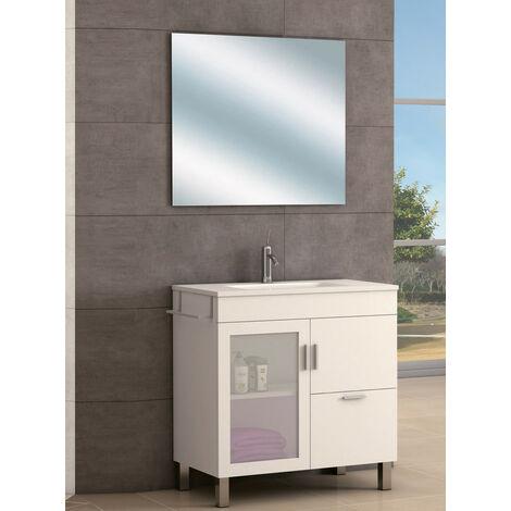 KIT Mueble de Baño Modelo PORTLAND RESINA, Conjunto formado por Mueble color Blanco, Lavabo de Resina y Espejo a Juego