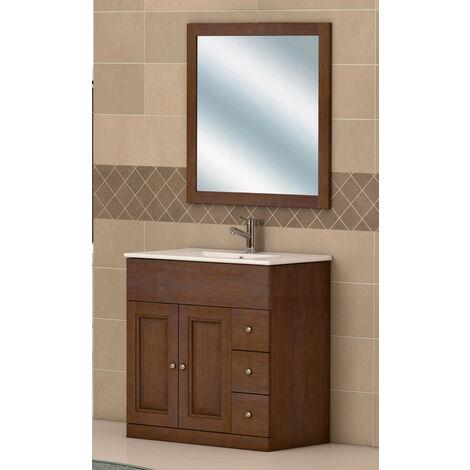 KIT Mueble de Baño Modelo ZAHARA,Formado por Mueble Rústico Color Madera Nogal, Lavabo de Porcelana y Espejo a Juego