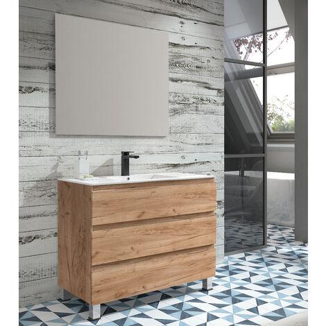 KIT Mueble de Baño NORUEGA PORCELANA, Formado por Mueble de Baño Estilo Madera Color TABACO 80cm, Lavabo de Porcelana y Espejo