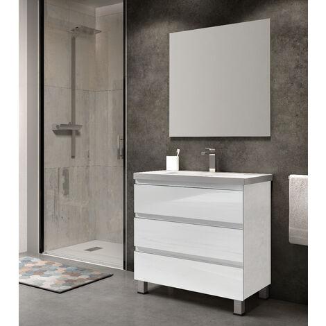 KIT Mueble de Baño NORUEGA RESINA, Formado por Mueble de Baño, Lavabo de RESINA y Espejo A JUEGO