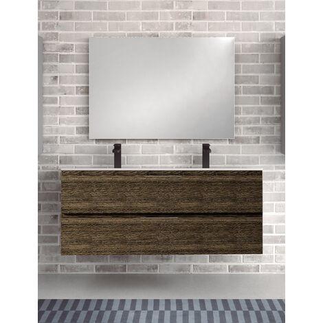 KIT Mueble de Baño TOSCANA PORCELANA, Formado por Mueble Color Wenge Malí 120cm, Lavabo de Porcelana con Doble Seno y Espejo