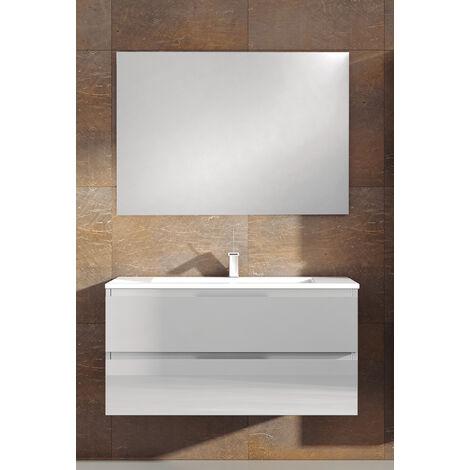 KIT Mueble de Baño TOSCANA PORCELANA, Formado por Mueble de Baño, Lavabo de Porcelana y Espejo a Juego