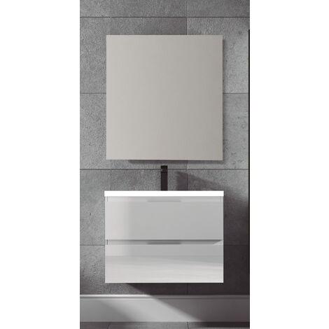 KIT  Mueble de Baño  TOSCANA Resina, Conjunto formado por Mueble Color, Lavabo de Resina y Espejo a Juego