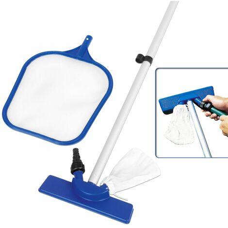 Kit nettoyage entretien piscine 3 accessoires - manche - aspirateur - épuisette