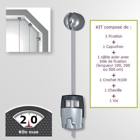 Kit Newly Solohanger câble acier charge 20 kg - Fixation autonome murale - Solohanger 100 cm
