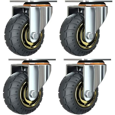 """main image of """"Kit of 4 universal 3 inch wheels without brakes Silent trolley wheels Universal swivel wheels 75mm Wheels Industrial plates Transport Casters for furniture"""""""