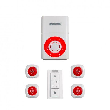 Kit panique alarme 3G sirène à pile GSM autonome extérieure 100% sans-fil - 4 boutons SOS (ULTRALARM 3G)