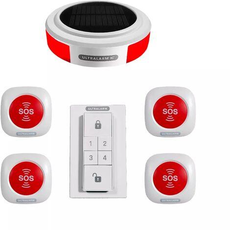 Kit panique alarme 3G sirène solaire GSM autonome extérieure 100% sans-fil - 4 boutons SOS (ULTRALARM 3G)