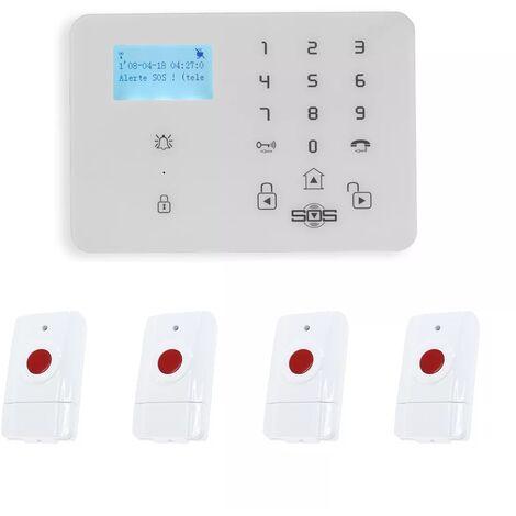 Kit panique GSM 2G+3G urgence 4 alertes sans-fil - Transmetteur réseau mobile KP-9 + 4 boutons paniques (gamme KP)