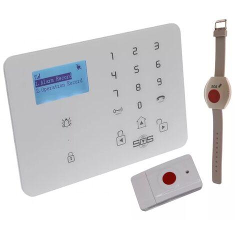 Kit panique GSM 2G+3G urgence double alerte sans-fil - Bracelet SOS + Bouton panique (gamme KP)