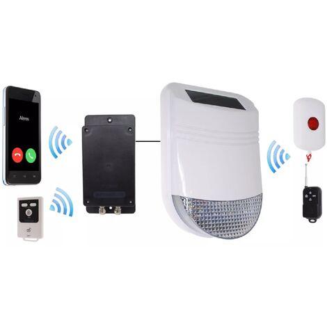 Kit panique GSM avec sirène solaire sans-fil 105dB IP66 + bouton + télécommandes (gamme HY/BT)