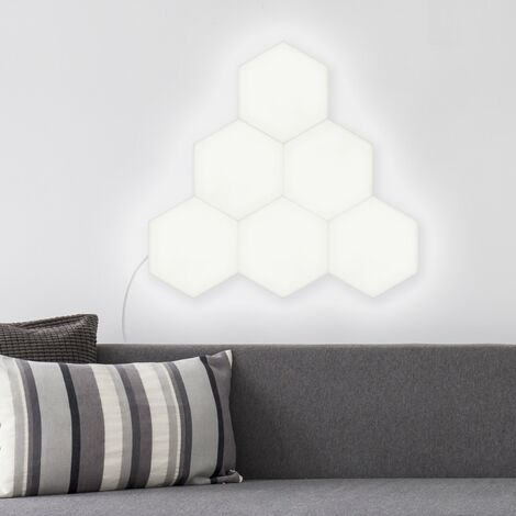 Kit Panneau LED Hexagonal 18x18cm 57.5W 4800lm (6 Un) Blanc Neutre 4000K - 4500K