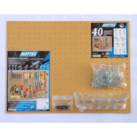 Kit panneau perforé isorel composé d'un panneau isorel + 1 lot de 40 crochets universels + 1 sachet de distanceurs + 1 barrette porte outils Mottez B275F