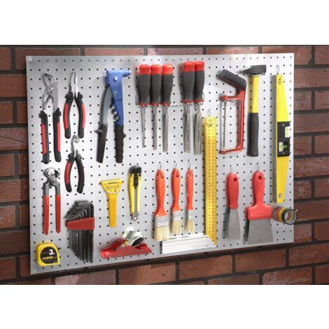 Kit panneau perforé tôle composé d'un panneau tôle + 1 lot de 40 crochets universels + 1 sachet de distanceurs + 1 barrette porte outils Mottez B278F