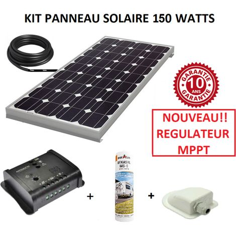 kit panneau solaire 140w monocristallin mppt pour camping. Black Bedroom Furniture Sets. Home Design Ideas