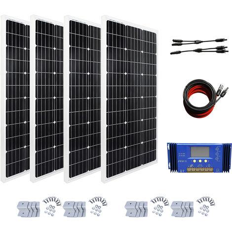 Kit panneau solaire 400W: panneau solaire 4 * 100W 12V avec contrôleur hors réseau RV Accueil