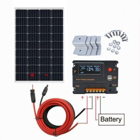 Kit panneau solaire module 120W 12V mono avec contrôleur de charge USB LCD 20A hors grille