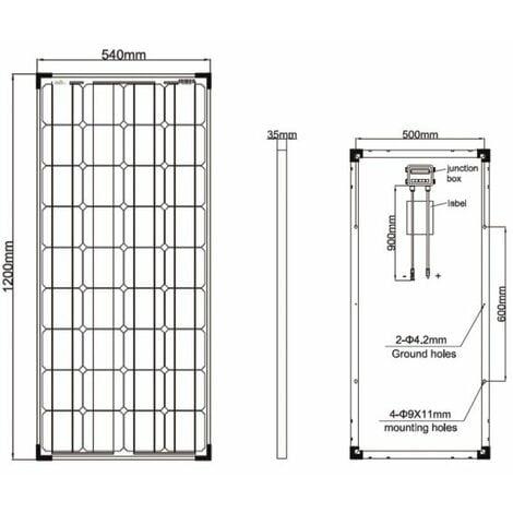 Kit panneau solaire monocristallin 100W 12V et régulateur 10A
