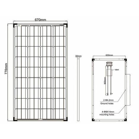 Kit panneau solaire Monocristallin 80W 12V et régulateur 10A