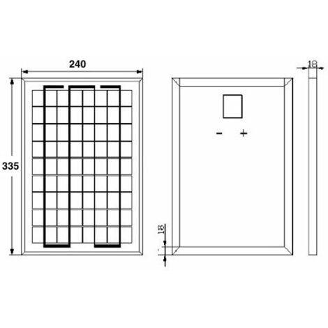 Kit panneau solaire polycristallin 10W 12V et régulateur 5A