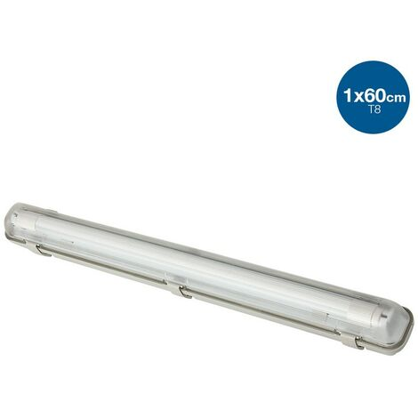 Kit Pantalla estanca con 1 Tubo LED T8 Cristal de 60CM (IP65)