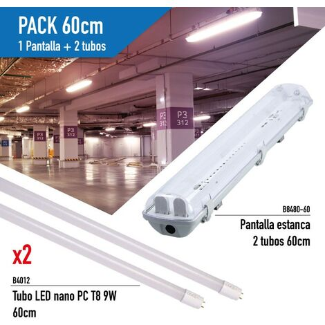 Kit Pantalla estanca con 2 Tubos LED T8 cristal de 60CM
