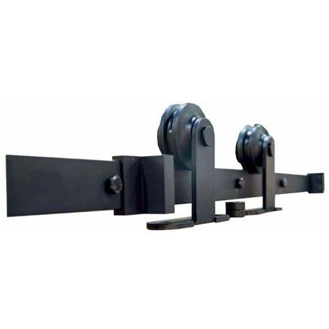 Kit para puerta corredera en superficie de madera - acero negro