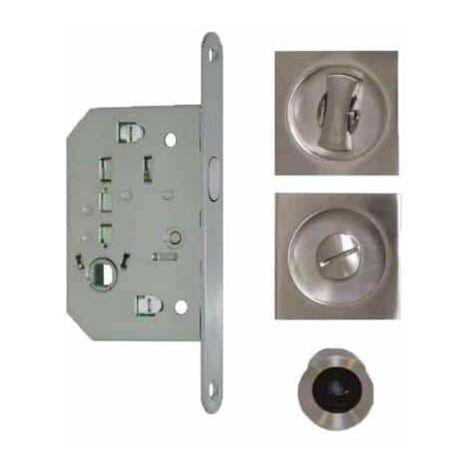 Kit para puerta de cocina - tiradores cuadrados - cerradura - acero inoxidable