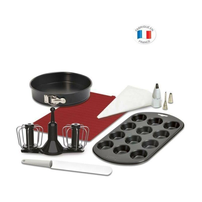 MOULINEX XF389010 Kit pâtisserie Companion, Fouet double rotation, Moule manque, Muffin, Poche a douilles, Tapis et spatule silicone