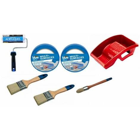 Kit peinture acrylique pro: rouleau + brosse à rechampir + 2 pinceaux plats + bac peinture + adhésifs