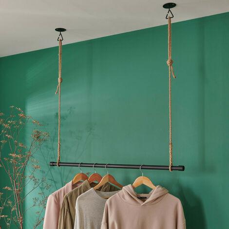 Kit penderie suspendue Industriel - Barre portant dressing sous plafond avec corde et crochet 1 m - LEXY - Noir
