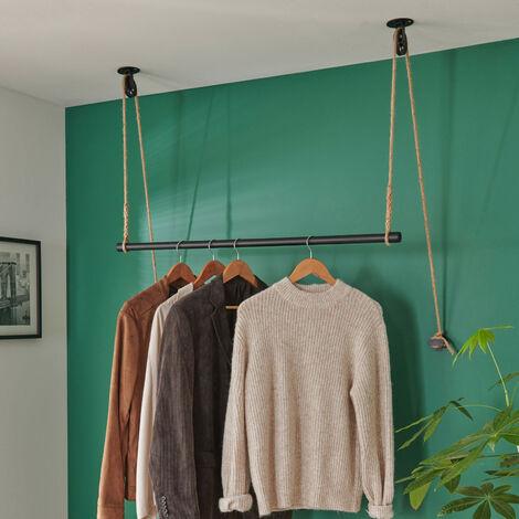Kit penderie suspendue Industriel - Barre portant dressing sous plafond avec corde et poulie 1 m - LANO - Noir
